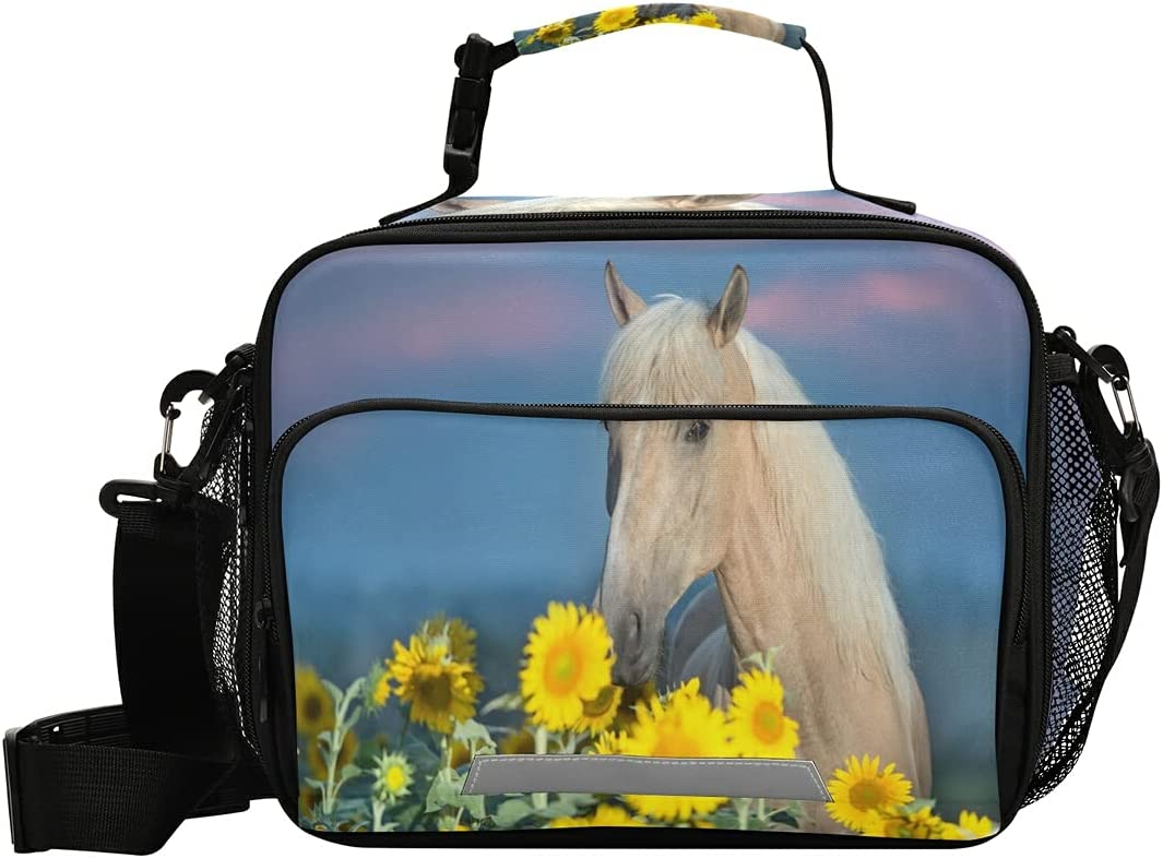 overseas Beautiful Palomino Horse Branded goods Sunflower Field Box Lunch wi Bag