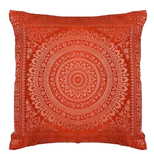 Federa per cuscino decorativa in seta con banarasi indiana etnica in broccato di seta con motivo mandala, realizzata a mano, per divano, divano, 45,7 x 45,7 cm, arancione
