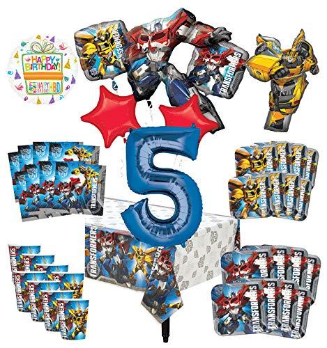 Transformers Kit de decoración de invitados y ramo de globos para fiesta de 5º cumpleaños, 8 unidades.