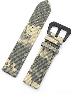 20mm 22mm Camo Canvas Quick Release Watch Band Strap, Cordura Canvas Ballistic Nylon Military Style Watch Strap with Camouflage Pattern for Men (22mm, Urban camo with black buckle)