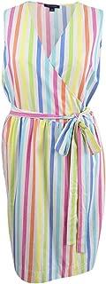 Women's Plus Size Cotton Striped Wrap Dress