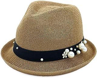 SXQ Summer Women's Jazz Hat Sunproof Sun Hat Ladies' Fedora Hat with Pearl Decoration Roll Up Brim Sunproof Beach Hat for Vocation Seaside Beach Hat Sun Hat (Color : Coffee, Size : 56-58CM)