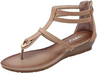 Women's Plus Size Low Heel Sandals, Pu Leather Clip Toe Zipper Back Solid Gladiator Flip Flop Thong Sandals Beach Shoes