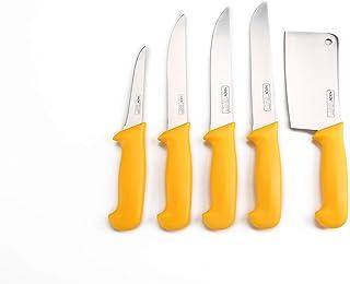 Shov Metzgermesser Küchenmesser Schlachtermesser Stechmesser Fleischerbeil Hackmesser Hackbeil Messer 5 teilig Edelstahl Rostfrei Profiqualität