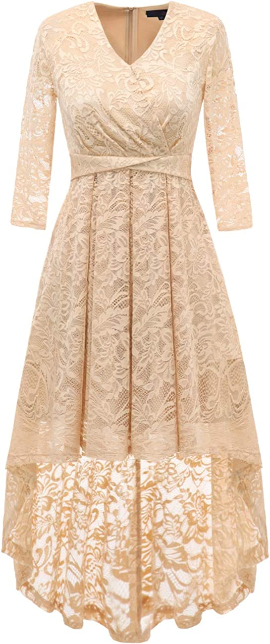 DRESSTELLS Women Floral Bridesmaid Lace Dress 3 4 Sleeves Indianapolis Mall Hi-Lo SEAL limited product