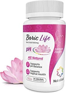 NutraBlast Boric Acid Vaginal Suppositories – 30 Count, 600mg – 100% Pure..