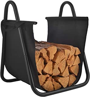 Patio Guarder Firewood Carrying Bag Fireplace Log with Canvas Tote Carrier Indoor Fire Wood Rack Firewood Storage Holders Log Bin Portable Fire Logs Basket Black