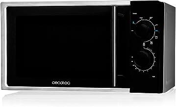 Cecotec - Microondas con Grill Silver, Capacidad de 20L, 700 W de Potencia, Grill de 900W, 9 Programas Automaticos, Temporizador 30 min, Modo Descongelar, Acabado Negro y Silver