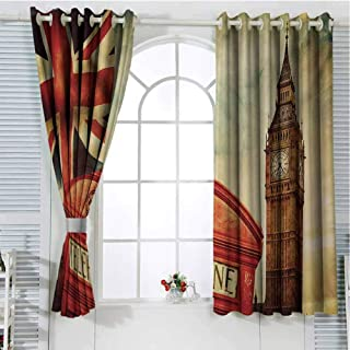 London Pattern Curtains Blackout Vintage Style Symbols of London with National Flag UK Great Britain Old Clock Tower Bedroom Decor Living Room Decor W72 x L107 Inch Multicolor