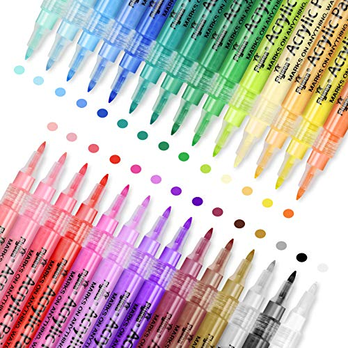 Acrylic Paint Pens,28 Colors Permanent Paint Art Markers Waterbased Pen Set for Photo Album ,Canvas, DIY Craft, School Project, Glass, Ceramic, Wood,Easter Egg,Non Toxic, Quick Drying (0.7mm)