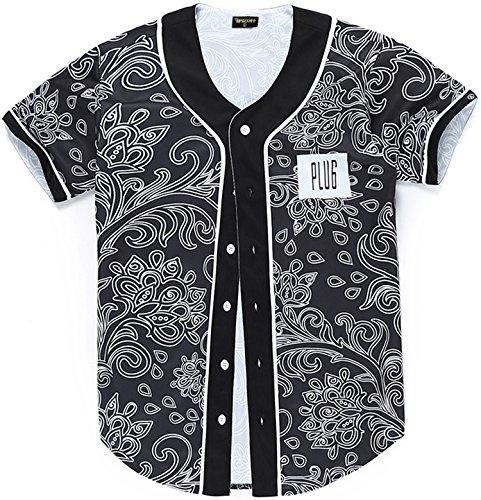 PIZOFF Short Sleeve Floral Jersey Black Baseball Shirt Y1724-31-L