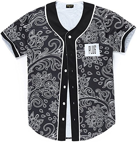 PIZOFF Short Sleeve Floral Jersey Black Baseball Shirt Y1724-31-L