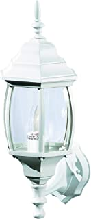 NOMA Four-Sided Outdoor Wall Lantern   Waterproof Outdoor Up-Facing Exterior Light for Front Door, Backyard, Garage, Patio or Décor   White Finish with Bevelled Glass Panels