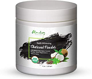 Teeth Whitening Charcoal Powder With Herbs – Neem, Baking Soda, Clove And Peppermint 4 oz