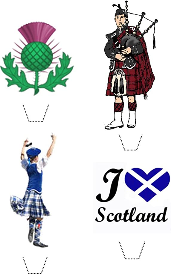 Novelty I Love Scotland Mix 12 Edible Stand up wafer paper cake toppers (5 - 10 BUSINESS DAYS DELIVERY FROM UK)