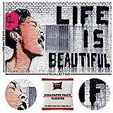 GREAT ART Wanddekoration Banksy Art - Das Leben ist schön