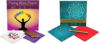 Flying Wish Paper Combo Set, 1 x Chakra, Large Kit + 1 x Golden Om, Mini Kit - Write it, Light it & Watch it Fly - (2 x Sets)