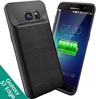 NEWDERY Samsung Galaxy S7 Edge Battery Case Slim, 5000mAh Rechargeable Extended Charging Phone Case Compatible Galaxy S7 Edge(Black)
