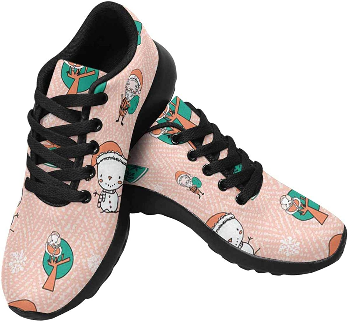 InterestPrint Women's Running Shoes - Casual Breathable Athletic Tennis Sneakers Christmas Hat Snowman