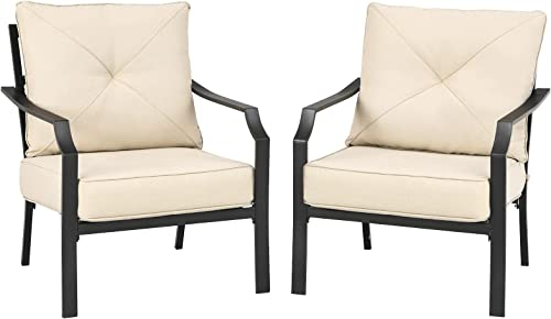 new arrival Giantex Set of 2 Patio Chairs, Outdoor Armchairs with Padded Cushions, Bistro Dining outlet online sale Chairs Iron-Frame Lawn Chairs for Porch Backyard online Garden Balcony (Black & Beige) sale