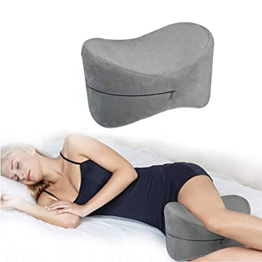 ESSORT Contour Knee Pillow for Side Sleepers, Orthopedic Memory Foam Leg Pillow for Sleeping, Spine Alignment for Sciatica Relief, Back Pain, Leg Pain, Hip Joint Pain, Pregnancy 25.4×18×17cm