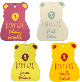 Happy Wax Scented Hanging Car Cub Air Freshener - Cute Car Freshener Infused with Natural Essential Oils! - Relax & Refresh 4-Pack (Fresh Cotton, Lemon Verbena, Vanilla Orchid, Calming Lavender)