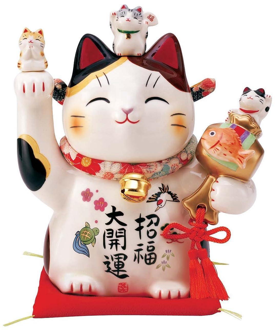 友だち簿記係最悪彩絵招福大開運招き猫(ちりめん首輪付6号) 7595