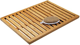 mDesign Alfombra de bambú Antideslizante para Uso en Interiores y Exteriores – Alfombrilla de baño Rectangular de Lamas de...