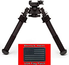 Authentic Atlas Bipod BT46LW17 w/ ADM 170-S Lever (w/ Bonus Hook & Loop USA Black Flag Patch)