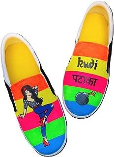 FUNKY N TRENDY Kudi Pataka Neon Color Waterproof Hand Painted Canvas Casual Shoes