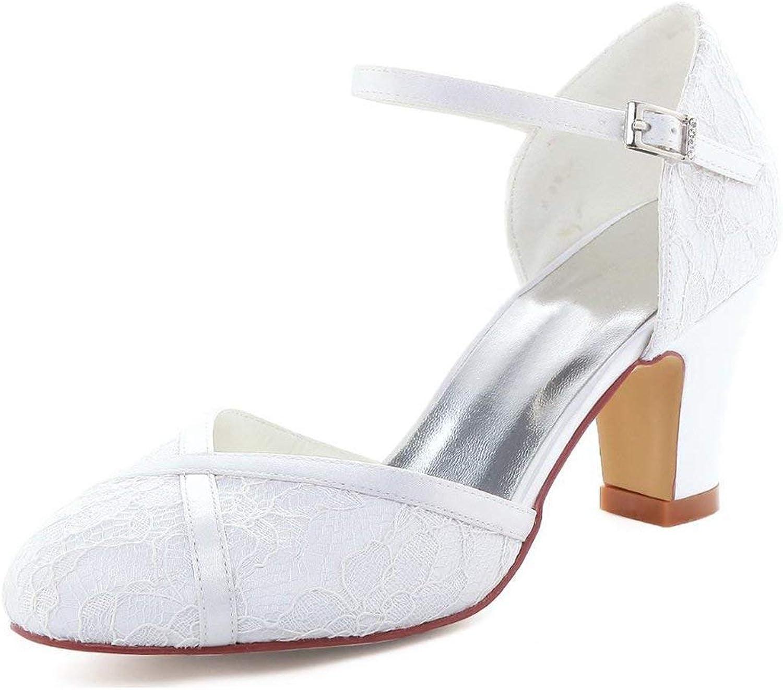 ZHRUI Damen Mandel Mandel Mandel Toe Chunky Med Ferse Spitze Braut Hochzeit Pumps (Farbe   Ivory-6cm Heel, Größe   4.5 UK)  b09140