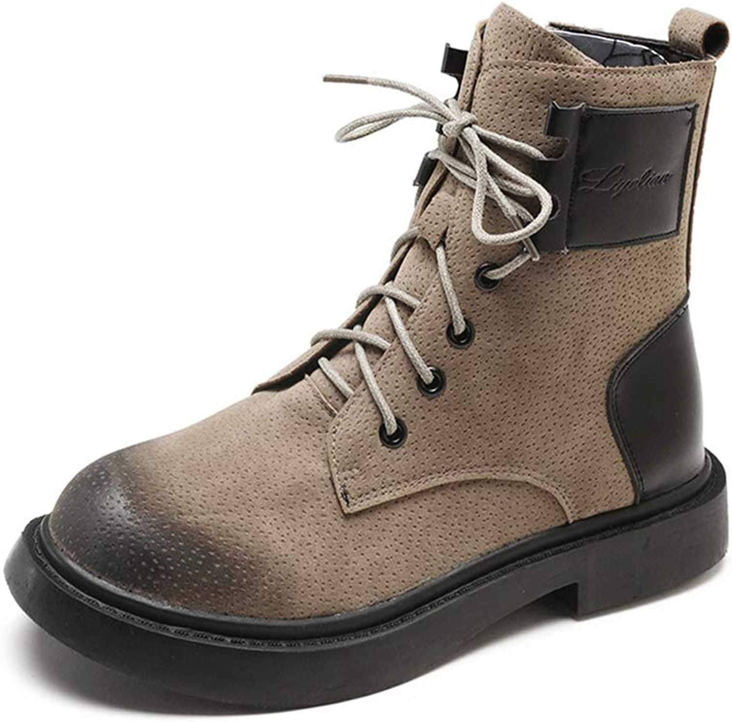 Women's Round Toe Lase-up Ankle Boots Ladies Leather Combat Booties Fashion Martin Boots