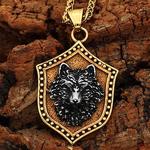 NDYD Viking Fenrir Wolf Head Amuleto Collar con Colgante Dorado para Hombres Mujeres 316L Acero Inoxidable Collar Escandinavo Nórdico Auténticos Hombres Vikingos