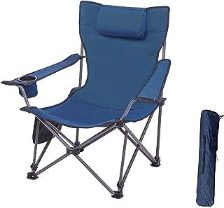DEFWAY アウトドアチェア キャンプイス type2 折りたたみ椅子パレットラウンジチェア 収納・組立簡単 ドリンクホルダー付 キャンプ用品 枕*収納バッグ付き 持ち便利 bbq/チェア/釣り/登山/キャンプ/室内 青