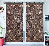 Negro y dorado de oscurecimiento habitación divisor y hippie dormitorio decoración ventana tratamientos cartucho de girasoles Drapes hecha a mano puerta 2 Panel cortinas
