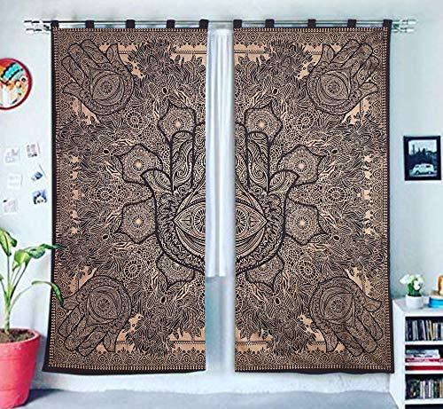 GANESHAM Indische Mandala Tapisserie Tapisserie Vorhänge, Mandala böhmischen Schlafzimmer Vorhänge (Schwarzes Gold)