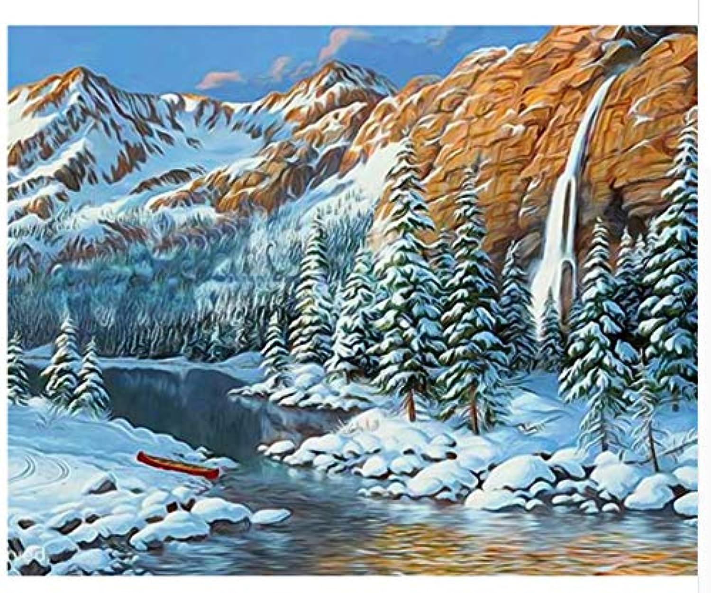 Agolong DIY Malen Nach Zahlen Schnee Landschaft Acrylgemälde Moderne Bild Home Decor Für Wohnzimmer Mit Rahmen 40x50cm B07L8F8FLM | Toy Story