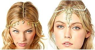 Princesa corona Tiara de la boda 2 Unids Hairband Cadena