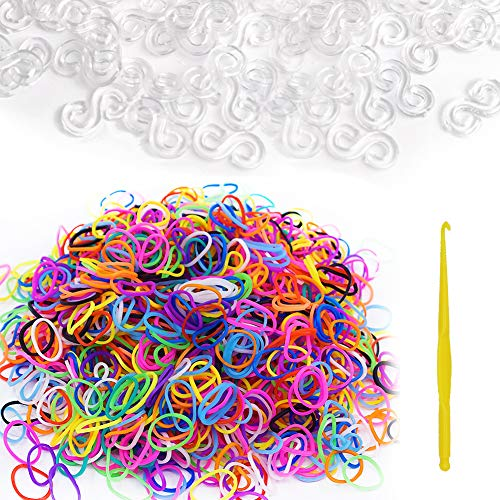 600Pcs Colorful Rubber Bands Refill + 480Pcs S Clip+ 1 Hook for Rubber Band Knitting Hook Tool Kit DIY Rubber Band Bracelet Woven S Clips Connectors Refills for DIY Bracelet Kit