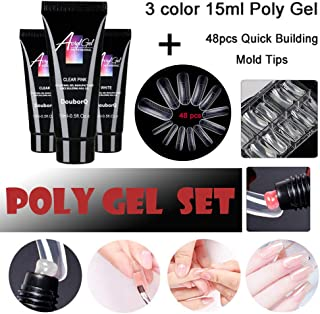 Jeeke Poly Gel Polygel Nail Kit Nail Thickening Solution, Lasting Finger Nail Crystal Jelly Camouflage UV Lamp Extension Set for Starter and Professional Nail Technician