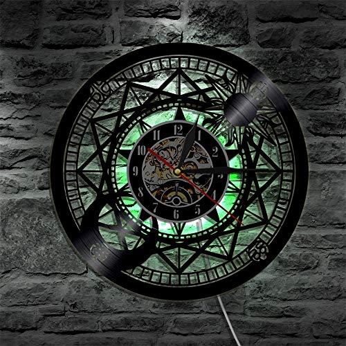 Reloj de pared de vinilo con diseño de astronomía, para decoración de pared, prismáticos, regalo vintage, creativo, para colgar, con luces LED