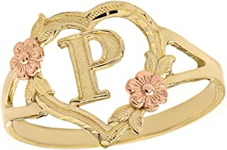 CaliRoseJewelry 10k Gold Initial Alphabet Personalized Heart Ring - Letter P