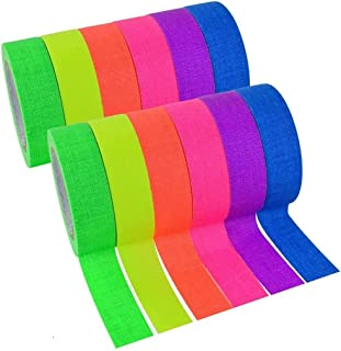 E-KAY 12 Pack Glow in The Dark Tape Party Favors Supplies Light up Kids Craft Set UV Blacklight Fluorescent Cloth Tape Neo...
