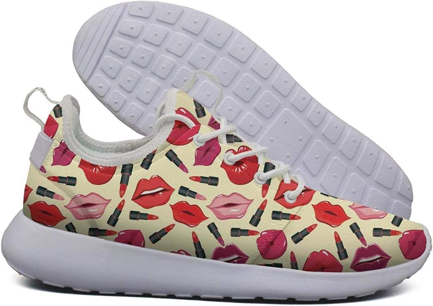 Hoohle Sports Womens red Lips Print Flex Mesh Roshe 2 Lightweight Soft Cross-Country Running shoes