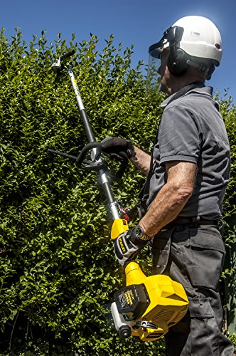 STANLEY STR-4IN1A 4 in 1 Brush Cutter, Hedge, Line Trimmer, Pole Pruner, Multitool, Black/Yellow