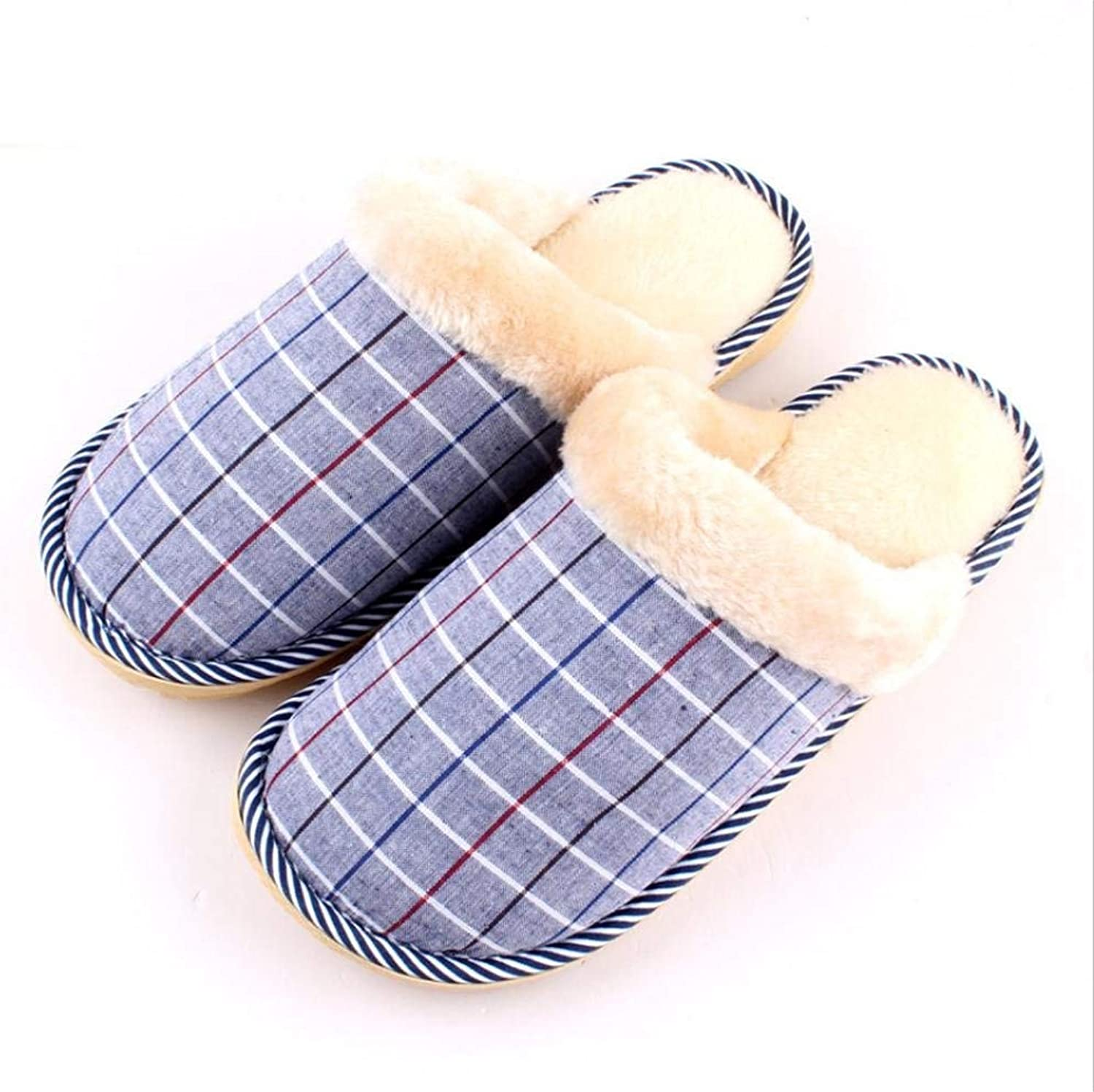 Gouuuuoy män Slipper Home Interner Icke -Slip Män Varma Varma Varma Tillfälliga Slippers Plaid Mönster Vinter och Autumn Super Soft Plush Wear Resistent Wild Slippers  kampanjer