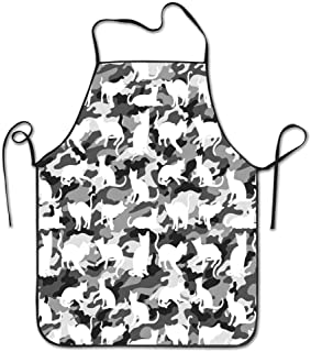 HOOSUNFlagrbfa Black and White Arctic Snow Cat Catmouflage Camouflage Bib Apron for Women Men Girls Chef Kitchen Aprons for Cooking Baking Cleaning