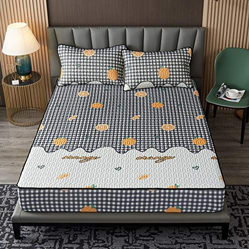 YFGY Sábanas de Cama Super King 180 * 200 cm, sábana Protectora de látex para colchón con Fundas de Almohada, sábana Ajustable Impresa, Plegable, Cool Summer Mat Naranja 1