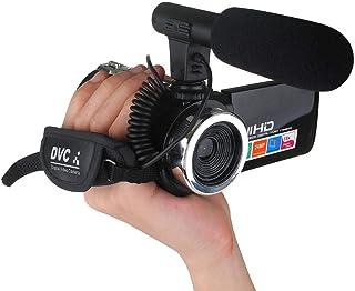 Qiopes Videocámara HD Profesional 18X Zoom Interfaz AV Cámara de Video/Micrófono Cámaras Digitales