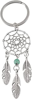 Dream Catcher Keychain Pendant, Dangling Feather Turquoise Charms Filigree Tribal Dreamcatcher Pendant Key Chain Ring